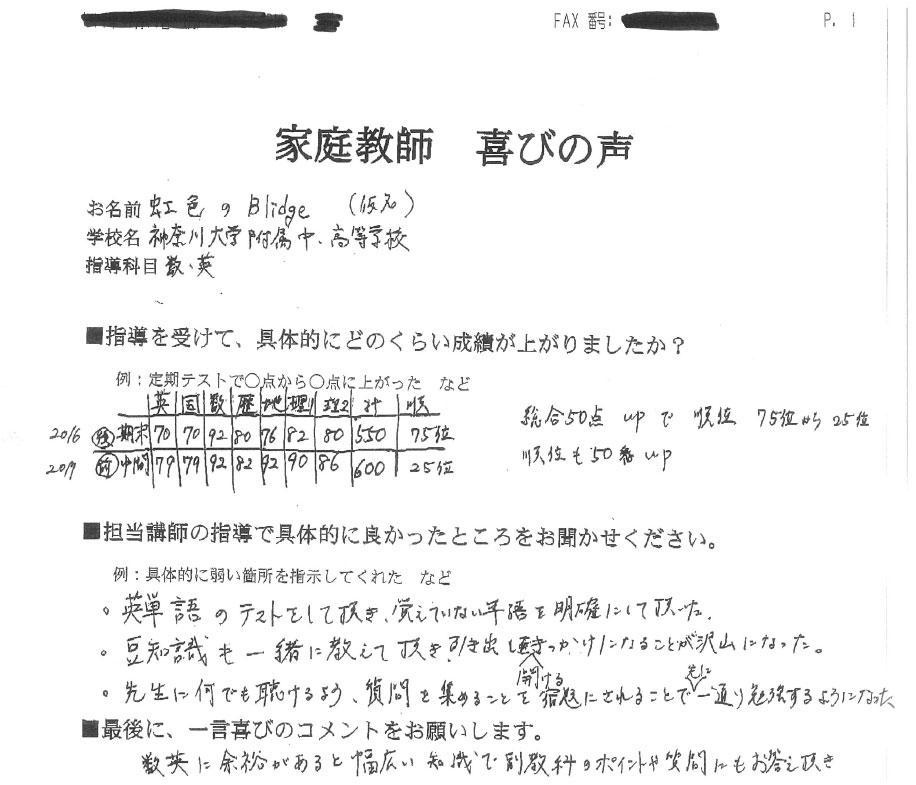 神奈川大学附属中・高等学校 虹色のBlidgeさん