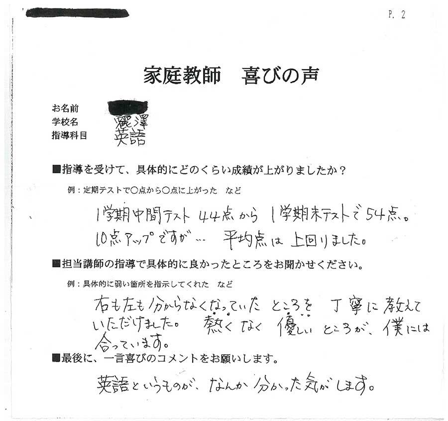 麗澤中学・高等学校 匿名希望さん