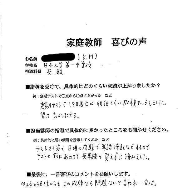 日本大学第一中学校 K.Mさん