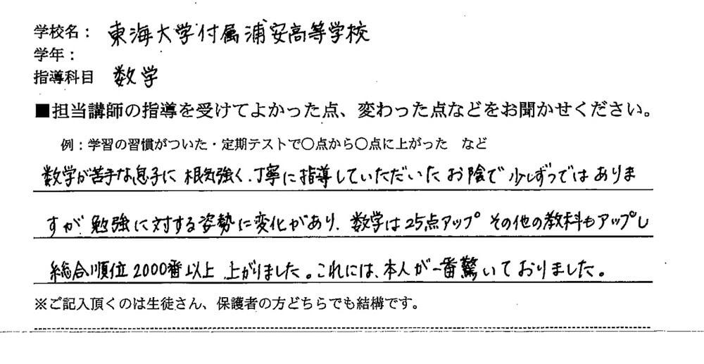 東海大学附属浦安高等学校 K・Mさん(お母さまより)