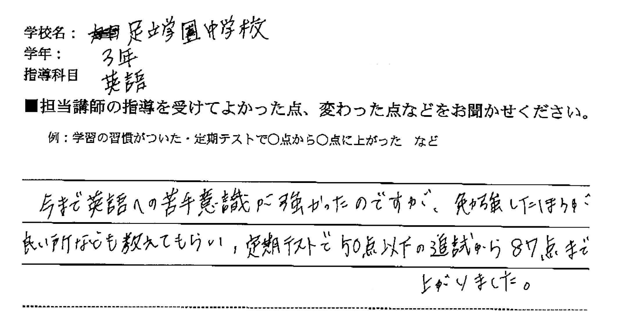 足立学園中学校 3年 A・Gさん