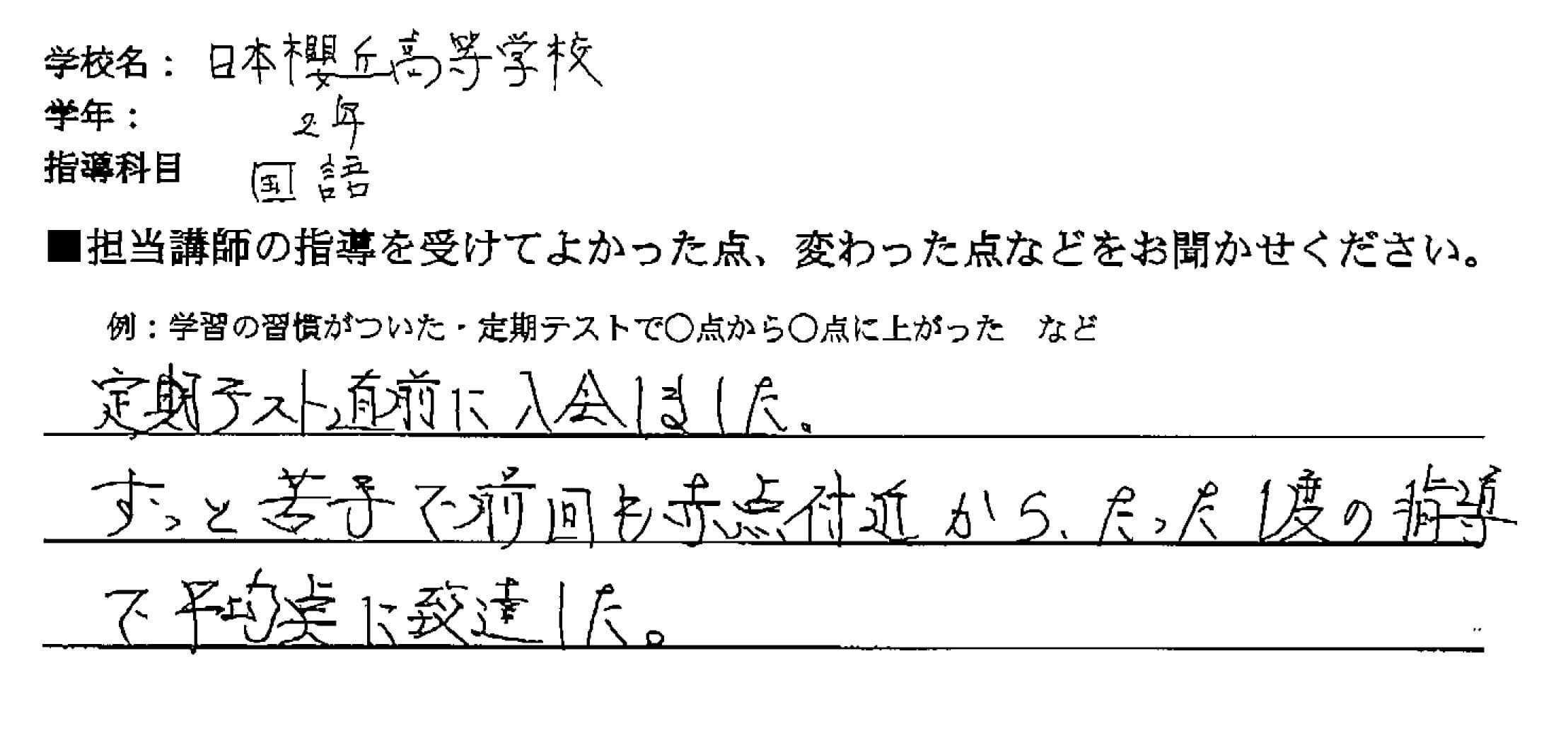 日本大学櫻丘高等学校 2年 K・Fさん